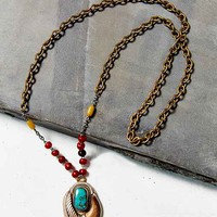 Lux Revival X Urban Renewal Turquoise Glass Horn Necklace- Assorted One