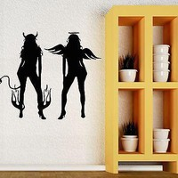 Wall Stickers Vinyl Decal Sexy Girl Devil Evil Angel Good Cool Decor (ig1018)