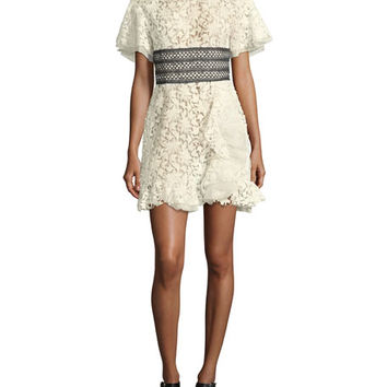 Giambattista Valli Short-Sleeve Lace Dress w/ Ruffle Hem