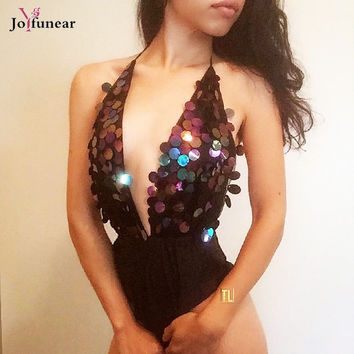 Sexy Deep V-neck backless Short Rompers Sequins Jumpsuit Outfit Women Bling Bling Shiny  Nightclub  Wear bodysuit