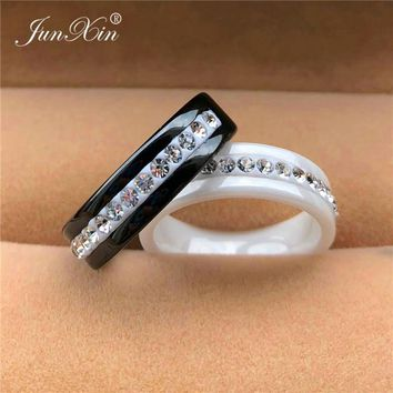 2019 Fashion Black/White Ceramic Ring Silver Color Small Zircon Finger Ring Couples Promise Rings For Women Man Crystal Jewelry