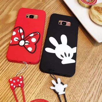fashion 3D cartoon mickey minnie mouse silicone soft gel case cover for samsung galaxy S6 S7 edge S8 plus cases with lanyard