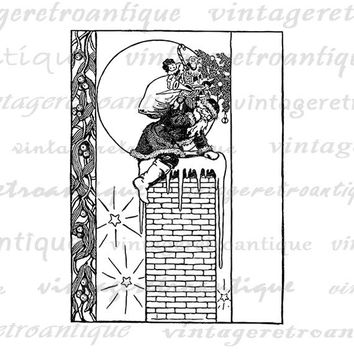 Santa Claus Chimney Christmas Digital Image Download Printable Graphic Vintage Clip Art Jpg Png Eps  HQ No.2459