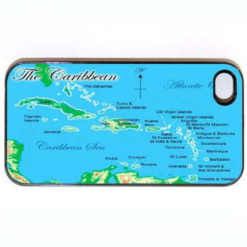 iPhone 4 4s Case Map of The Carribean Hard iPhone by KustomCases
