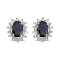 14K Yellow Gold Oval Sapphire and Diamond Earrings (1.20ct tgw)