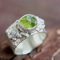 Rough Diamond Peridot Ring Sterling Silver Raw Diamond Engagement Ring Size 9 Silversmithed Metalsmithed