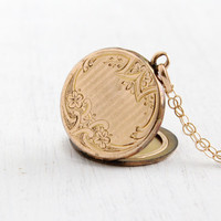Antique Floral Etched Monogrammed Locket Necklace- Gold Shell 1910s 1920s Art Deco W&H Co. Initailed Jewelry