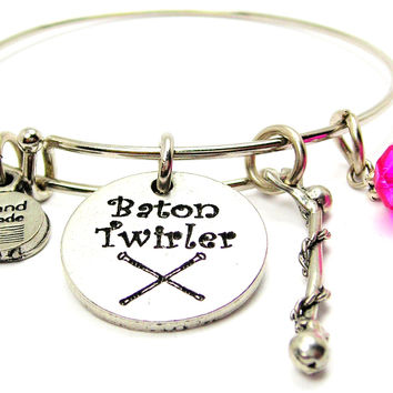 Baton Twirler With Baton Bangle Bracelet