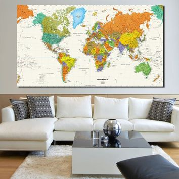 Large Modern Enlish World Map Oil Painting Canvas Pictures Decorative Painting Wall Art No Frame For Home Decor