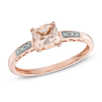 6.0mm Cushion-Cut Morganite and Diamond Accent Ring in 10K Rose Gold
