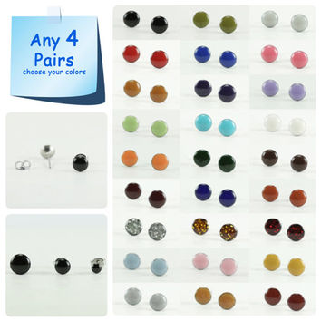 Any 4 Pairs - Stud Earrings Set - Choose Your Colors and Size - Tiny Small Stud Earrings - Surgical Steel Post - 4mm / 6mm / 8mm