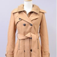 Family Affair Double Breasted Ribbed Collar Coat in Camel | Sincerely Sweet Boutique