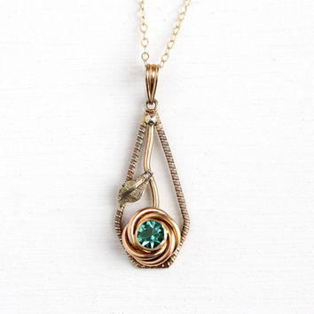 Vintage Lavalier Necklace - Gold Filled on Sterling Silver Green Stone Rose Pendant - Retro Blue Rhinestone Simulated Zircon Flower Jewelry