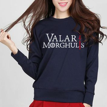 Hot Sale The Game of Thrones Sweatshirt Valar Morghulis letters Print Sweatshirt Funny Hipster Hip Hop Hoodies New Arrival S-XXL