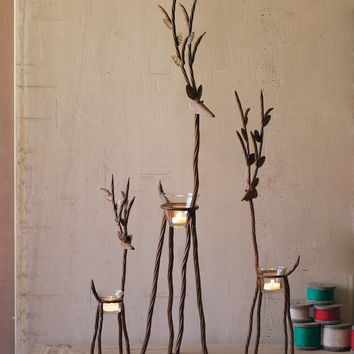 Set Of 3 Rustic Iron Reindeer With Tealight Cups