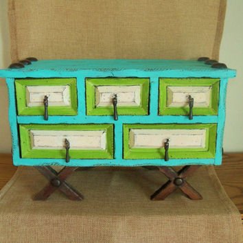 Large Upcycled Vintage and Unique Rustic Wood Jewelry Box / Storage Chest, Hand Painted in Multi Colors of  Turquoise, Green, and Light Pink