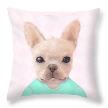 Portrait Of French Bull Dog Throw Pillow