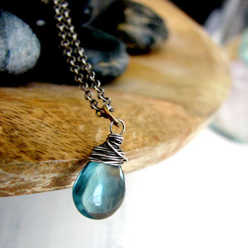 Teal Blue Teardrop Fluorite Gemstone Necklace