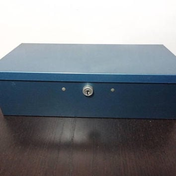 Vintage No. 8 Guardsman Merriam Blue Metal Office/Desk Filing Lock Box - Industrial Mid Century Modern Office Organizer - No Key