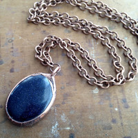 Blue Goldstone Necklace - Electroplated Stone Necklace - Gemstone Necklace - Copper Chain - Boho - Hippie Necklace