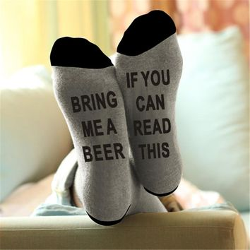 East Knitting ST09 Unisex IF YOU CAN READ THIS BRING ME A BEER Fashion Socks Cotton Christmas Socks Funny Socks