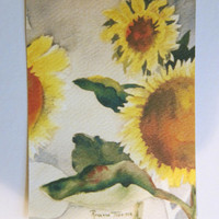 Sunflower II, watercolor print ACEO 359 WatercolorsNmore
