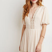 Puff-Sleeved Crochet-Trimmed Dress