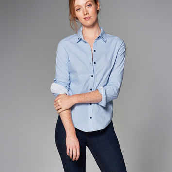 Womens Embroidered Preppy Shirt | Womens Tops | Abercrombie.com