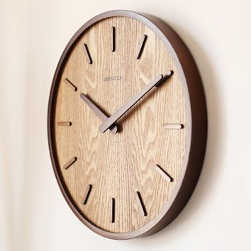 "Large 14"" Bamboo Wood Modern Wall Clock"