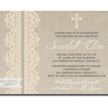 Lace Pearls Baptism Invitation Linen Burlap Chic Cross Rustic Christening Baby Girl Christian DIY Digital or Printed - Scarlett Style