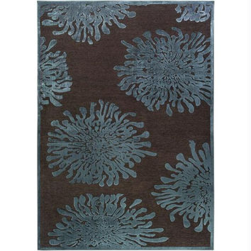 Throw Rug - Teal Blue, Espresso Brown, Blue Flagstone