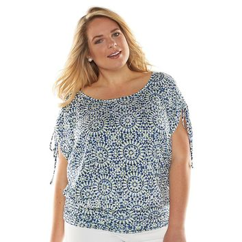 AB Studio Medallion Banded-Bottom Top - Women's Plus Size, Size: