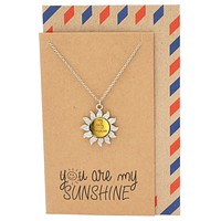 Finley You are My Only Sunshine Necklace for Women, Best Friend Gifts and Greeting Card