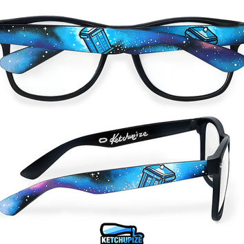 Doctor Who glasses - custom Wayfarer clear lens geeky glasses unique hand painted - Tardis - Space - Galaxy print