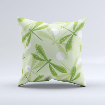 Green DragonFly  Ink-Fuzed Decorative Throw Pillow