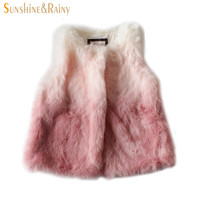 Baby Girls Waistcoat 2016 Winter Girls Clothes Faux Fur Coats Toddler Girl Vests Warm Children Outerwear Kids Jackets 18M-6T