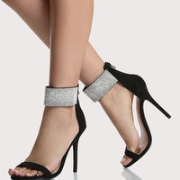 Crystal Ankle Strap Heels BLACK