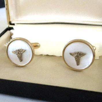 Anson Signed Mother of Pearl Caduceus Cufflinks for Men Vintage