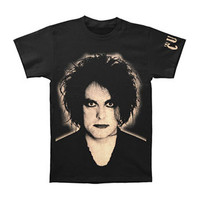 Cure Men's  Robert Smith Sleeve Logo T-shirt Black Rockabilia