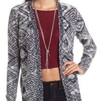 Diamond Pattern Slub Stitch Open Cardigan - Navy Combo