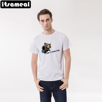 Itsameal Men T-shirt Fashion 2017 Summer Men Cotton Tees Rocket Raccoon T shirt from the Film Guardians of the Galaxy MTnor5