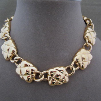 Vintage Anne Klein Gold Metal Chunky Chain Necklace