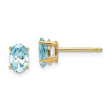 14k Gold 6 mm Oval Aquamarine Post Earrings