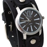 Nemesis #BN065K Men's Exclusive Collection Roman Black Leather Buff Band Watch