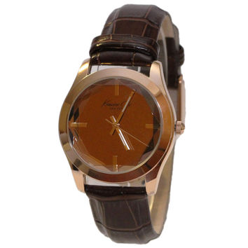 Kenneth Cole KCW2002 Women's New York Brown Dial Rose Gold Steel Brown Leather Strap Watch