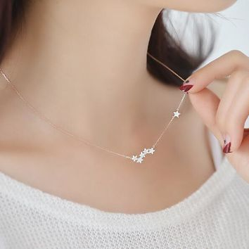 Shuangshuo Zircon Star Necklaces & Pendants Constellation Choker Necklace Women Long Chain Necklace Chokers Jewelry bijoux femme