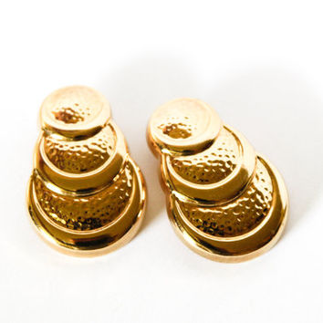 Pair of Gold Plated Triple Semi-Circle Stud Earrings
