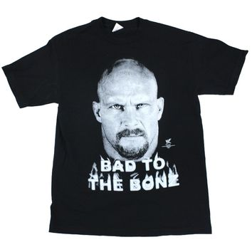 WWF STONE COLD BAD TO THE BONZ GLOW IN THE DARK T-SHIRT MED