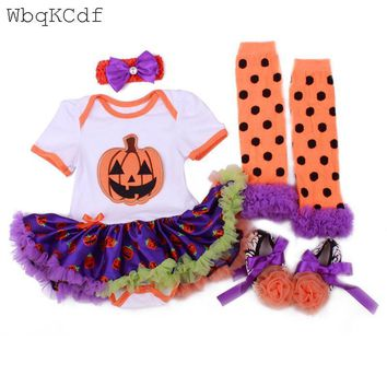 Newborn Girls Clothing Outfits Sets Halloween Baby Cosplay Clothes Infant Baby Girls Costume Suits Pumpkin Rompers Skull Dresses