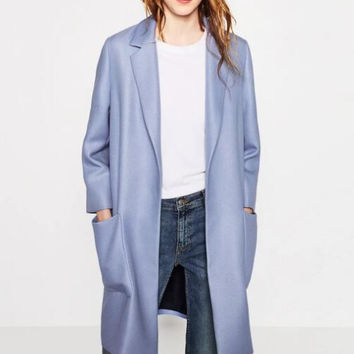 Woman 2016 New Atutumn Fashion Blue Long Twill Trench coat With no fastening Side Pockets Notched Collar Elegant Coats